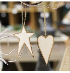 a mix of hanging wooden heart and star with rustic tones