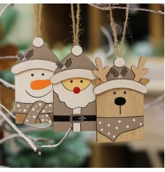 a mix of hanging character decorations in neutral colour tones