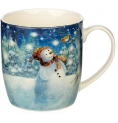 Decorated with a cute Snowman and Penguin scene, this mug is from the charming Jan Pashley Christmas Range