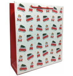 A great way to present gifts at Christmas Time, a red Volkswagen printed gift bag with a festive feel to it