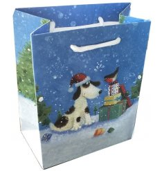 Part of the festive Jan Pashley Range, a cute bird and dog printed gift bag with an added snowy scene