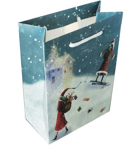 Festive themed skiing santa gift bag from the renowned Jan Pashley range of products.