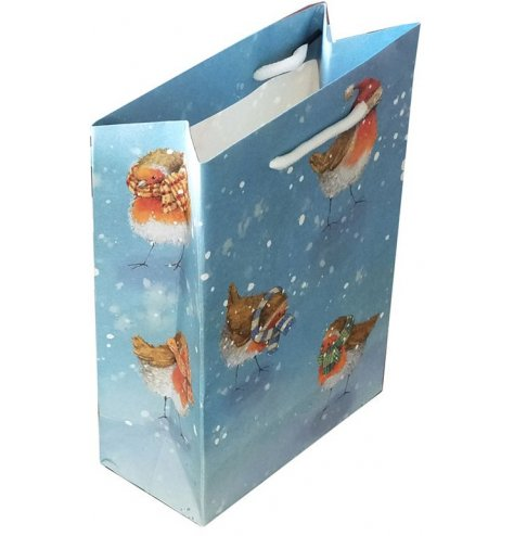 Festive themed robin gift bag from the renowned Jan Pashley range of products.