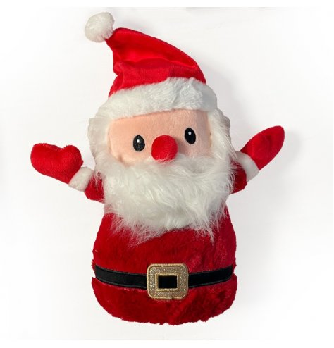 A plush fabric santa doorstop complete with festive decals and features