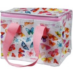 covered with colourful butterflies, this eco friendly zip up lunch bag is perfect for on the go or picnics!