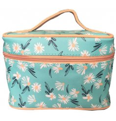 A colourful and bold daisy printed make up bag with a secure zip lid and added compartments inside