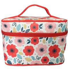 A colourful and bold poppy printed make up bag with a secure zip lid and added compartments inside