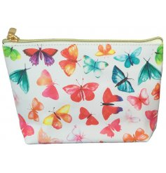 A colourful printed wash bag with a gold zip and butterfly decal