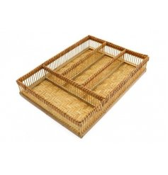 A stylishly set woven bamboo based storage tray with 4 compartments