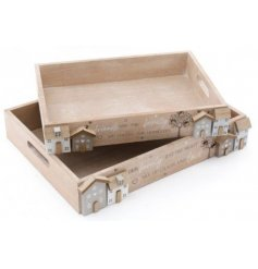 a set of 2 sized wooden trays with homely decals and text finishes