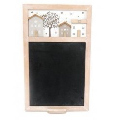 Perfect for placing within any kitchen space, a wooden framed chalkboard with an added 3D House decal