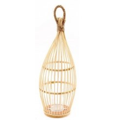 A charmingly simple accent to bring into any home or garden space, a bamboo based lantern with a droplet shape