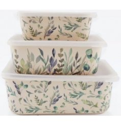 A set of 3 assorted sized bamboo containers that can be stored within each other
