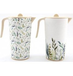 Sure to add a trendy summer touch to your home and garden! A mix of Green Leaf printed bamboo serving jugs