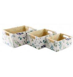 3 Piece set Of Fabric Baskets