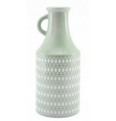 Pastel Green Vase With Circular Pattern