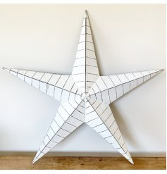 White barn star with black, distressed ridges