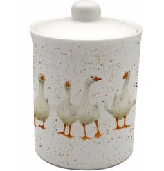 a ceramic storage canister with a quirky goose print to finis