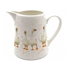 A Rustic Farm themed ceramic jug featuring the popular 'Goosey Women' print from Bree Merryn