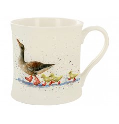A Fine China Mug featuring a cute puddle splashing train of duckies