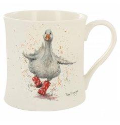 A Fine China Mug featuring a cute puddle splashing duck
