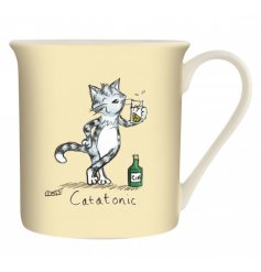 A yellow toned ceramic mug with a comical printed decal from the Louise Tate Range