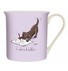 A purple toned ceramic mug with a comical printed decal from the Louise Tate Range