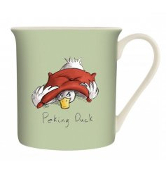A green toned ceramic mug with a comical printed decal from the Louise Tate Range