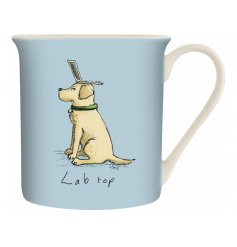 A blue toned ceramic mug with a comical printed decal from the Louise Tate Range