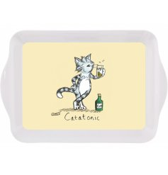 A quirky and comical small serving tray with a yellow hued base and cat print to finish