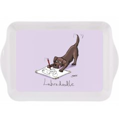 A quirky and comical small serving tray with a purple hued base and dog print to finish
