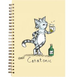 An A6 Notebook In A Quirky Purple Tone, Complete With A Comical Cat Print