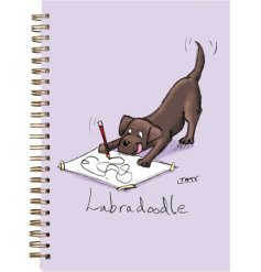 An A6 Notebook In A Quirky Purple Tone, Complete With A Comical Dog Print