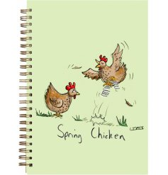 A pastel green A6 notebook with a comical chicken print on the front of it