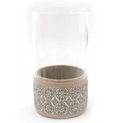 Cement Candle Holder With Glass Insert