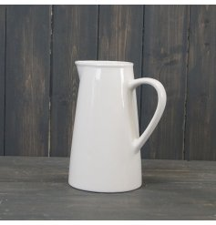A sleek and simple plain white ceramic jug
