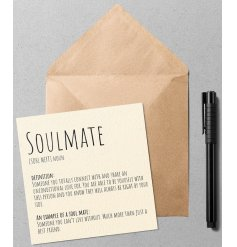 A quirky and simple greetings card with a Dictionary inspired printed text about soulmates