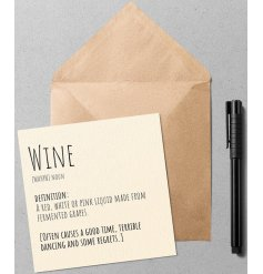 A quirky and simple greetings card with a Dictionary inspired printed text about Wine