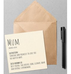 A quirky and simple greetings card with a Dictionary inspired printed text about Mum