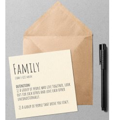 A quirky and simple greetings card with a Dictionary inspired printed text about Family