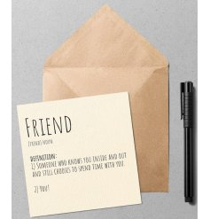 A quirky and simple greetings card with a Dictionary inspired printed text about Friends