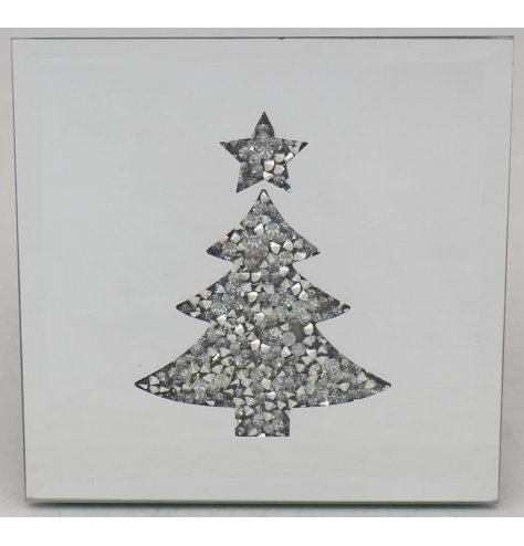 A glitzy themed set of placemats with an added mirrored decal and cluster crystal tree design