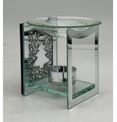 A glass tlight holder featuring a stunning crystal decal and mirrored surround