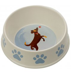 A charming little food/water bowl for dogs!