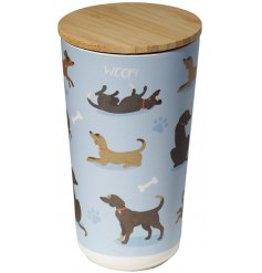Bamboo dog treat Jar with wooden lid