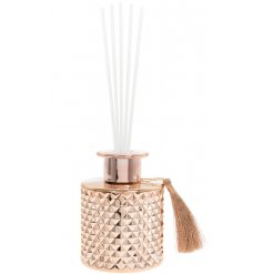 this Desire Noir Reed Diffuser features a diamond ridge decal and tassel finish