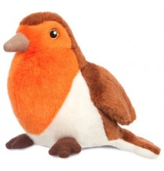 Made form snuggable plush stuffing, an alternative cuddly companion for any little one, a brightly coloured Red Robin Bi