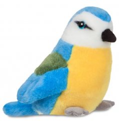 Made form snuggable plush stuffing, an alternative cuddly companion for any little one, a brightly coloured Blue Tit Bir