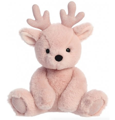 A cute and cuddly reindeer soft toy with pretty pink fur and sparkly golden accents