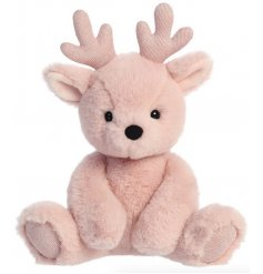 A perfect cuddle companion for any little one during Christmas Time, a pink reindeer soft toy with added glittery antler